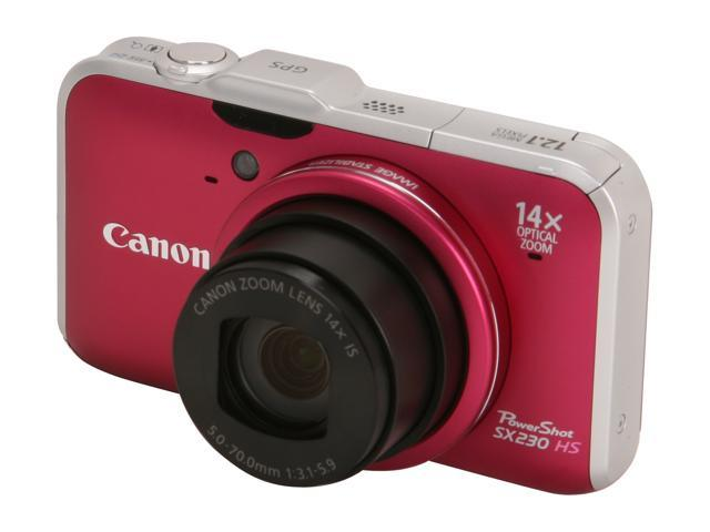 Canon SX230IS HS Red 12.1 MP 28mm Wide Angle Digital Camera