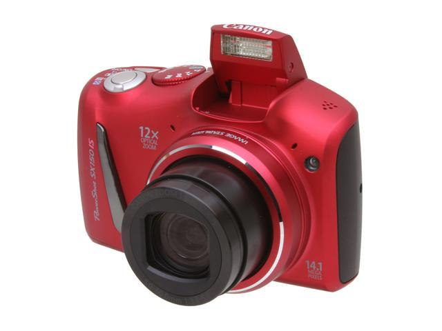 Canon PowerShot SX150 IS Red 14.1 MP 12X Optical Zoom 28mm Wide Angle Digital Camera