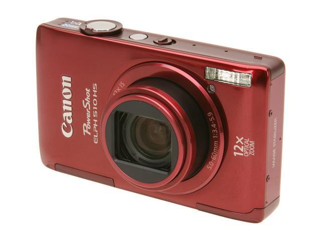 Canon PowerShot ELPH 510 HS Red 12.1 MP 12X Optical Zoom 28mm Wide Angle Digital Camera HDTV Output