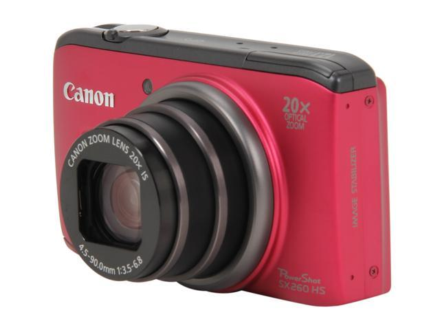 Canon PowerShot SX260 HS Red 12.1 MP 20X Optical Zoom 25mm Wide Angle Digital Camera HDTV Output