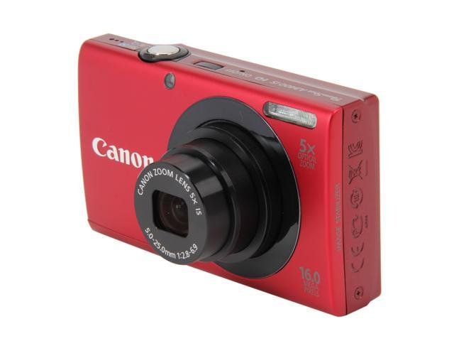 Canon PowerShot A3400 IS Red 16 MP 5X Optical Zoom 28mm Wide Angle Digital Camera