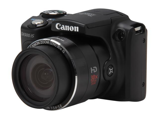 Canon PowerShot SX500 IS Black Approx. 16.0 MP 30X Optical Zoom 24mm Wide Angle Digital Camera HDTV Output