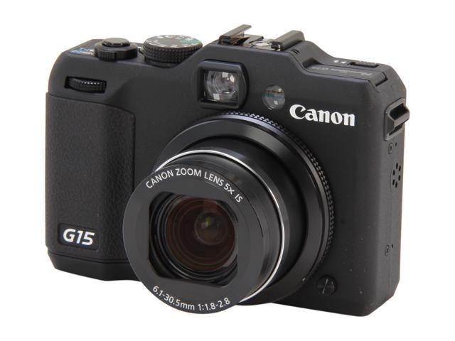 Canon PowerShot G15 Black Approx. 12.1 MP 5X Optical Zoom 28mm Wide Angle Digital Camera HDTV Output