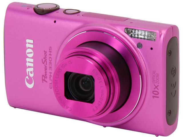 Canon PowerShot ELPH 330 HS Pink 12.1 MP 24mm Wide Angle Digital Camera