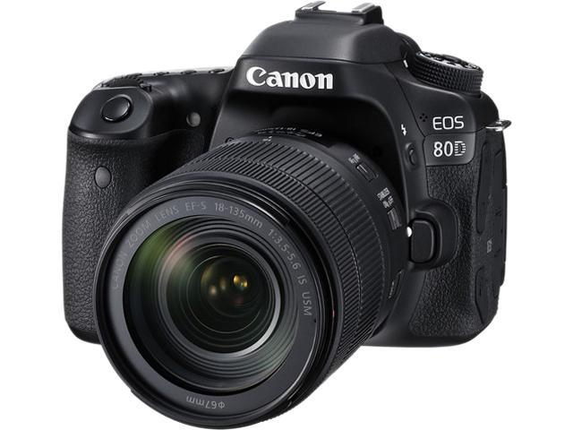 Canon EOS 80D 1263C006 Black Digital SLR Camera with 18-135mm IS ...