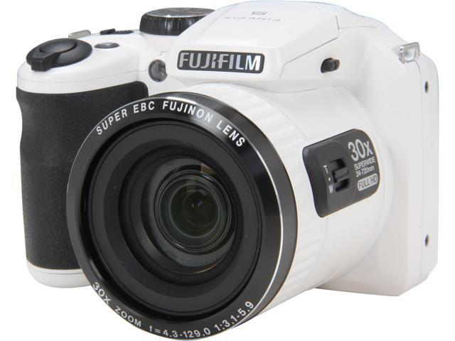 FUJIFILM FinePix S6800 White 16.2 MP 30X Optical Zoom 24mm Wide Angle Digital Camera HDTV Output
