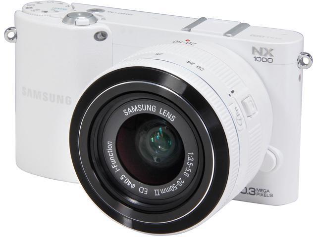 SAMSUNG NX1000 EV-NX1000BFWUS White Mirrorless Digital Camera with 20-50mm Lens