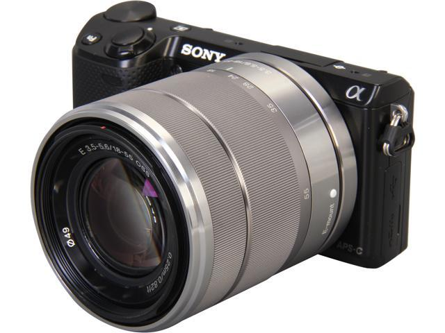 SONY Alpha NEX-5R Black Compact Mirrorless System Camera with 18-55mm Lens