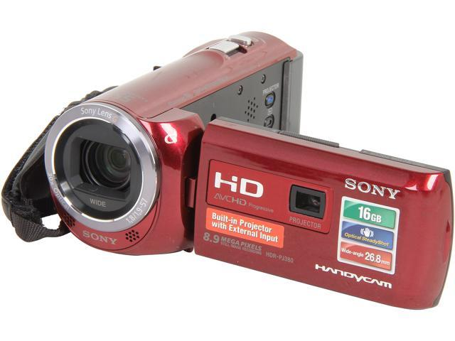 SONY HDR-PJ380/R Red Full HD HDD/Flash Memory Camcorder