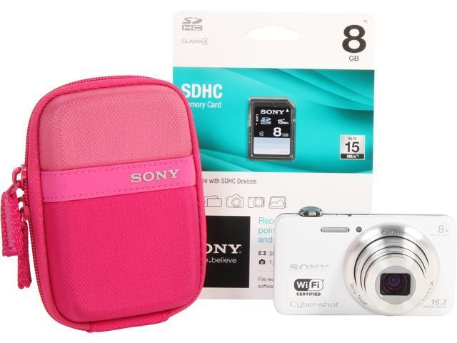 SONY Cyber-shot DSCWX80/WBDL White 16.2 MP Digital Camera - Bundle Kit HDTV Output