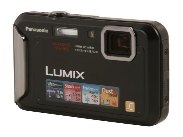 Panasonic DMC-TS20 Black 16.1 MP 4X Optical Zoom Waterproof Shockproof 25mm Wide Angle Digital Camera