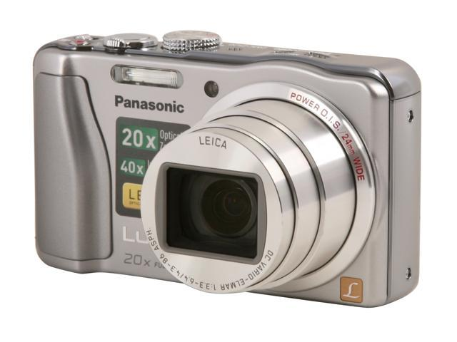 Panasonic DMC-ZS20 Silver 14.1 MP 20X Optical Zoom 24mm Wide Angle Digital Camera