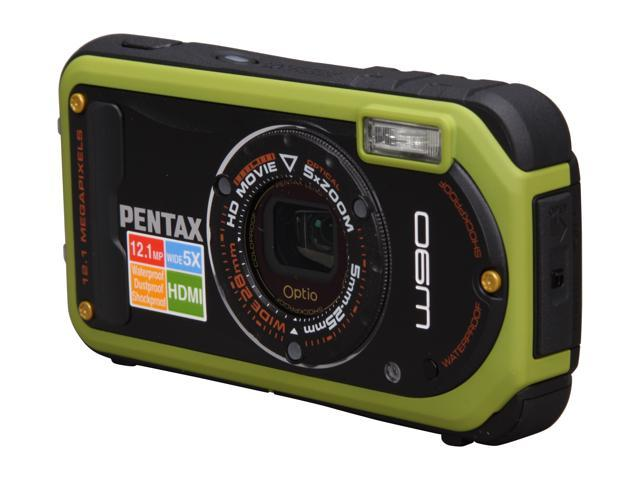 PENTAX Optio W90 Pistachio Green 12.1 MP 5X Optical Zoom Waterproof Shockproof 28mm Wide Angle Digital Camera
