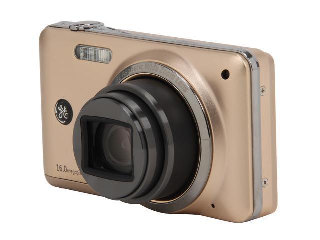 GE E1680W Gold 16 MP 28mm Wide Angle Digital Camera HDTV Output