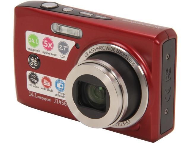 GE J1456W Red 14.4 MP 5X Optical Zoom Digital Camera