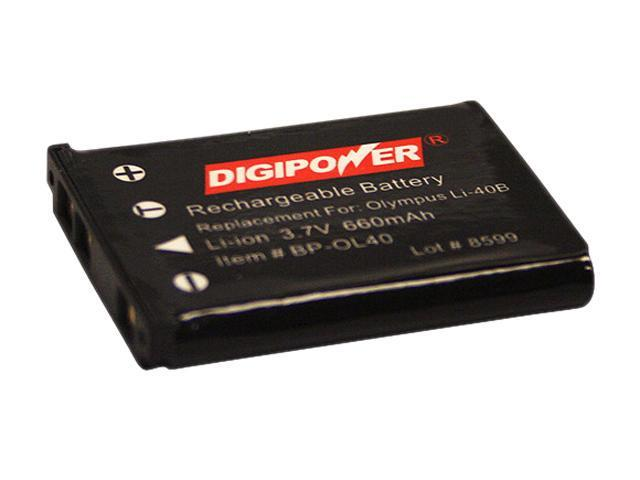DigiPower BPOL40B 1-Pack 660mAh Li-Ion Replacement battery for Olympus Li-40B