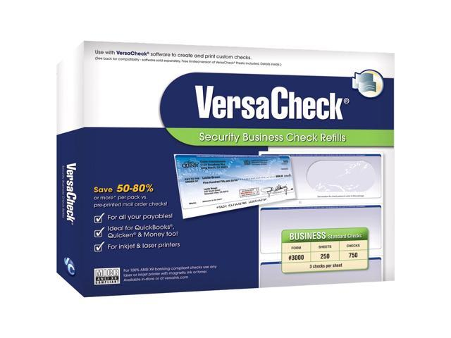 VersaCheck Form #3000 Business Standard Security Check Refills - Blue - Prestige (250 Sheets/750 Checks)
