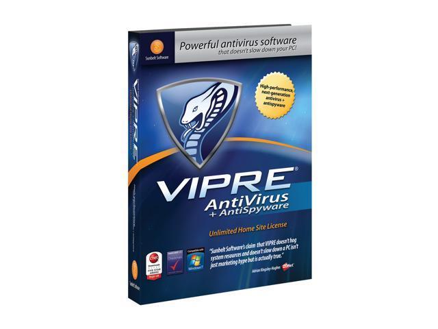 Sunbelt Vipre Antivirus + Antispyware - Unlimited Home Site License - Amaray Case