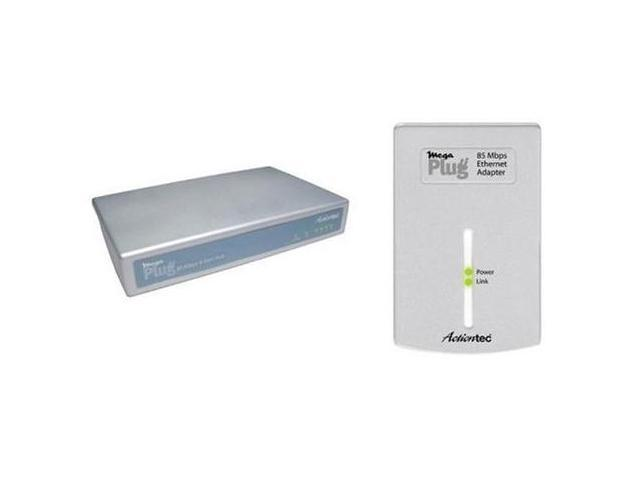 Actiontec HLE0850901ke MegaPlug 85Mbps 4-Port Hub&Adapter KIT Up to 85Mbps