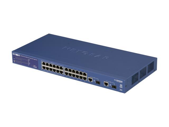 NETGEAR 24 Port 10/100 PoE Smart Switch + 2 Combo ports, 12 ports PoE - Lifetime Warranty (FS726TP)