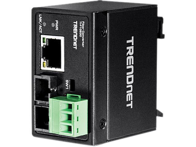 TRENDnet TI-F10S30 Hardened Industrial 100Base-FX Single-Mode SC Fiber Converter