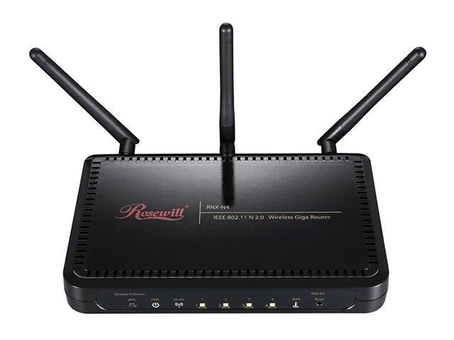 Rosewill RNX-N4 IEEE 802.11b/g/n Wireless-N 2.0 Gigabit Router (2T3R) Up to 300Mbps Data Rates/ WPA Personal and Enterprise, WPA2, 64 & 128 bit WEP, PSK, TKIP, AES Security/ Stream Engine Inside