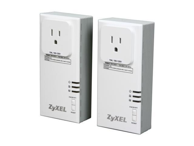 ZyXEL PLA407 HomePlug AV 200 Mbps Powerline Wall-Plug Adapter (Starter Kit - 2 Units)