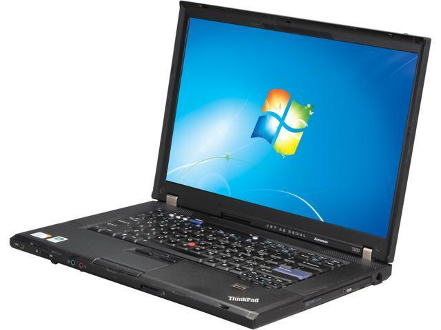 "ThinkPad Laptop T Series T500 Intel Core 2 Duo 2.53 GHz 2 GB Memory 160 GB HDD 15.4"" Windows 7 Home Premium 32-Bit"