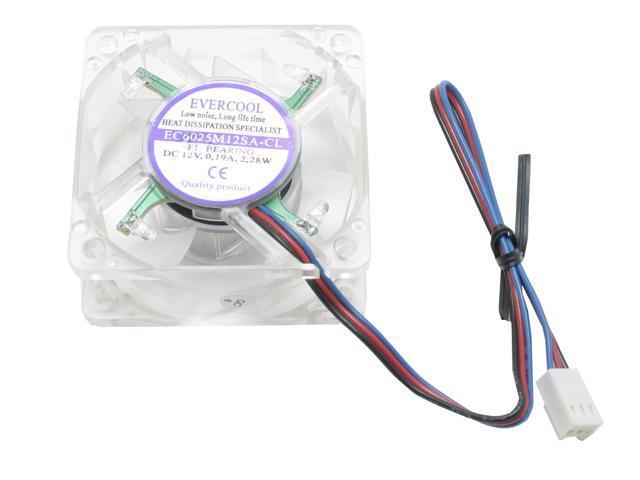 EVERCOOL FAN-LD6025B-EC2 60mm Blue LED Crystal Blue LED Light Case Fan