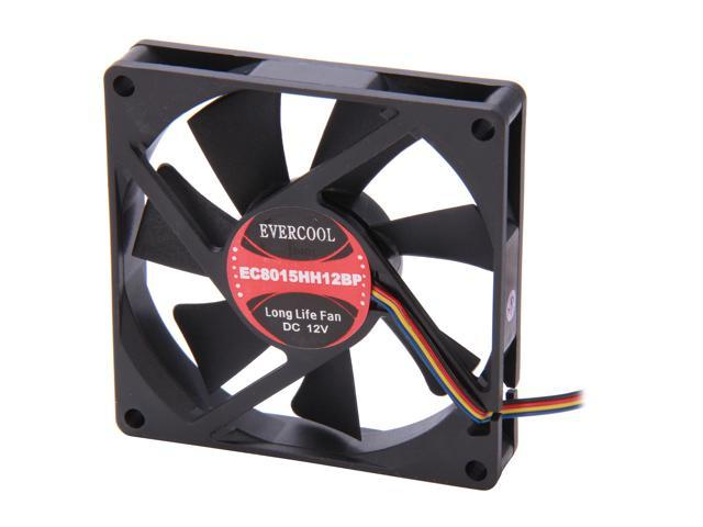 EVERCOOL EC8015HH12BP 80mm 4 Pin PWM fan, Long life bearing, Low noise & high airflow, Low pollution