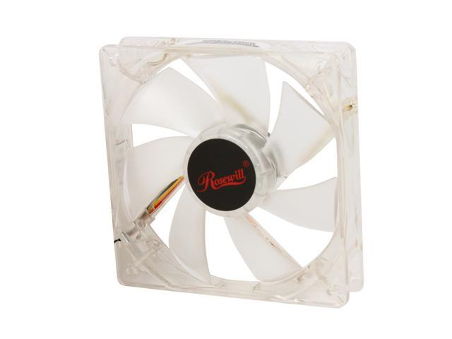 120mm Computer Case Cooling Fan Silent LP4 Adapter White LED Rosewill