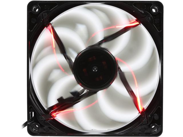 Rosewill 120mm Computer Case Fan (Case Cooling Fan) - Black Frame & 4 Red LEDs, Fluid Dynamic Bearing, Silent Fan with LP4 Adapter; RNBL-131209R