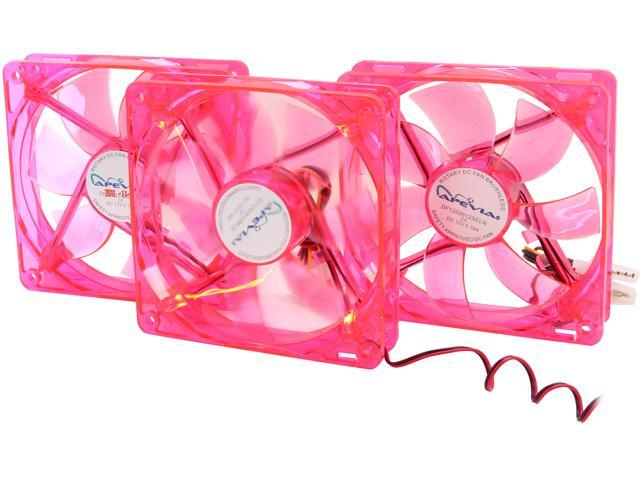 APEVIA CF312SL-URD 120mm Red LED 120mm UV Cooling Fan 3 in 1 pack