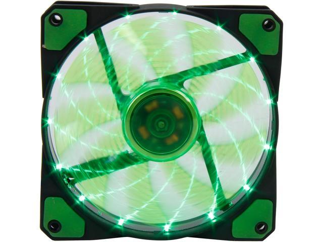 APEVIA CF12SL-SGN Green LED Case Fan w/ Anti-Vibration Rubber Pads