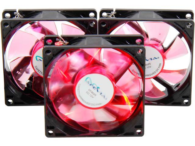 APEVIA CF308SL-BRD 80mm Red LED Case Fan (3-pk)