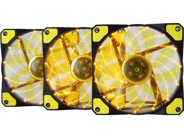 APEVIA AF312L-SYL 120mm Yellow LED Ultra Silent Case Fan w/ 15 LEDs & Anti-Vibration Rubber Pads (3-pk)