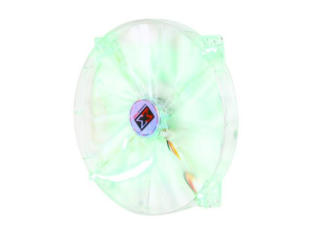XIGMATEK FCB (Fluid Circulative Bearing) LED Fan Crystal series CLF-F2003 200mm Green LED Case Fan Molex Adapter/extender included