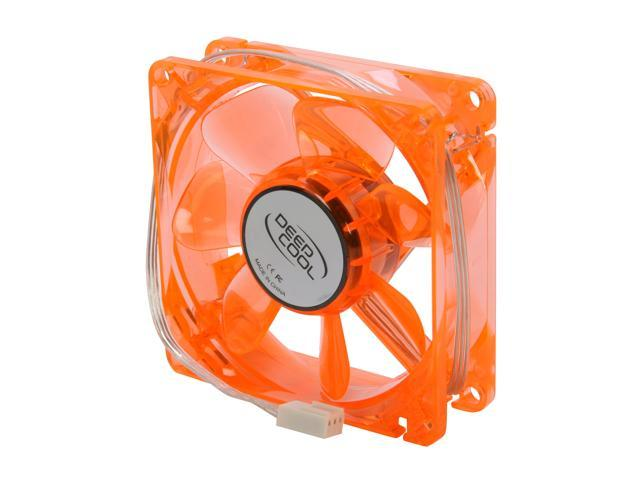 LOGISYS Computer CF80OG 80mm Green LED 80mm Orange Case Fan with Green LED, 3/4 Pin