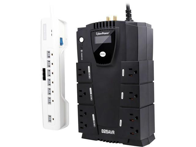 CyberPower 825 VA 450 Watts Intelligent LCD UPS Backup and 7 Outlets Surge Protector Combo Pack