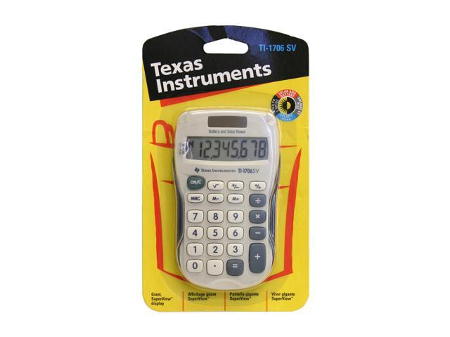 Texas Instruments TI1706 SuperView Handheld Calculator8 Character(s) - LCD - Solar, Battery Powered - Gray