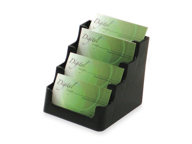 Deflect-o 70404 Four-Pocket Countertop Business Card Holder, Holds 200 2 x 3 1/2 Cards, Black
