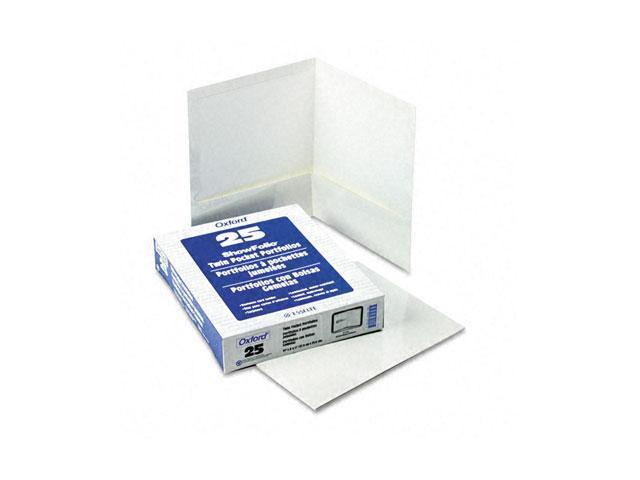 Oxford 51704 High Gloss Laminated Paperboard Folder, 100-Sheet Capacity, White, 25/Box
