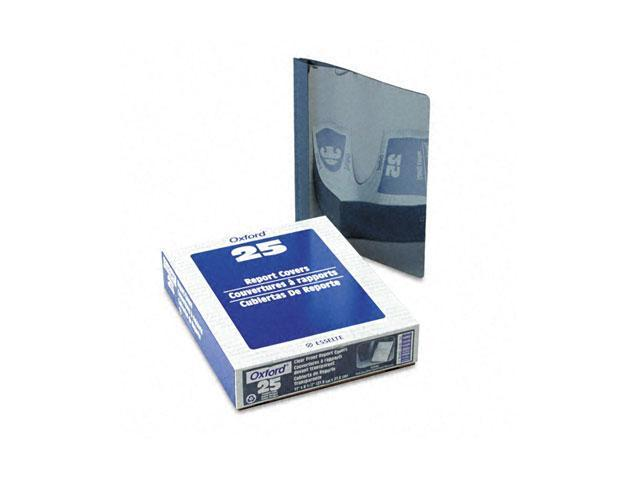 "Oxford 55838 Clear Front Report Cover, Tang Clip, Letter, 1/2"" Capacity, Dark Blue, 25/Box"
