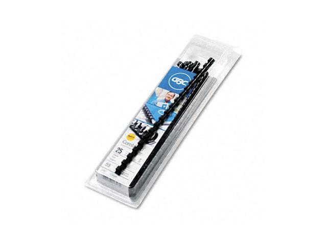 "4090022 GBC CombBind Standard Spines, 3/8"" Diameter, 55 Sheet Capacity, Black, 25/Box"