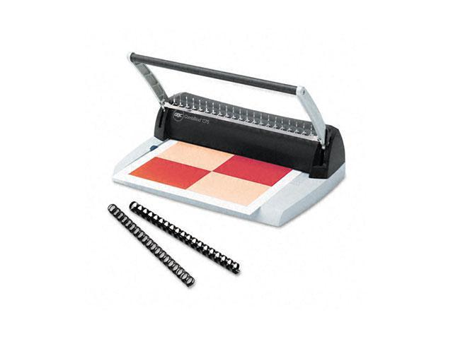 7704230 GBC C75 Manual Comb Binding Machine, 125 Sheets, 14 1/2 x 9 1/2 x 8, Charcoal/Silver