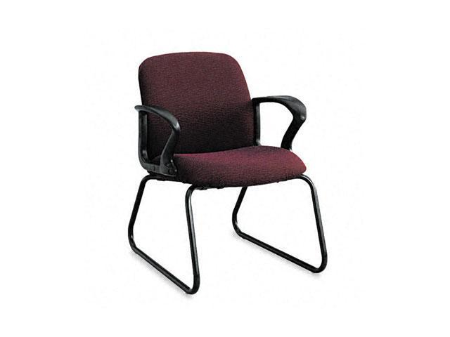 HON 2073BW69T Gamut Series Guest Chair, Black Loop Arms/Sled Base, Claret Burgundy Fabric