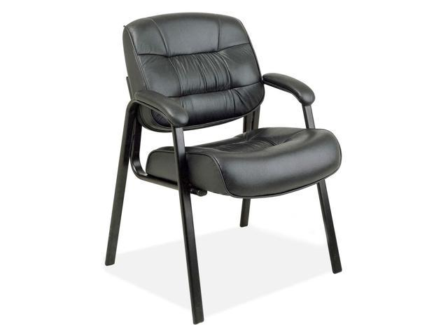 Office Star EX8124-3 93 Series Leather Visitors Chair w/Loop Arms, Black