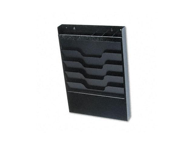 Buddy Products 841-4 Wall File with Supplies Organizer, Letter, Four Pocket, Black