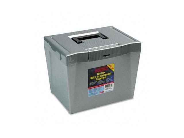 Pendaflex 20862 Portable File Storage Box, Letter, Plastic, 14-7/8 x 11-3/4 x 11-1/4, Steel Gray