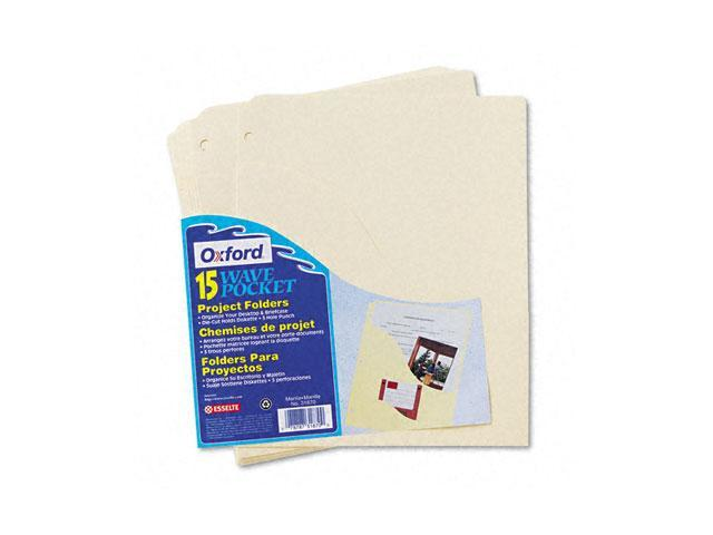 Pendaflex 31870 Slash Pocket Project Folders, Jacket, Letter, Manila, 15/Pack